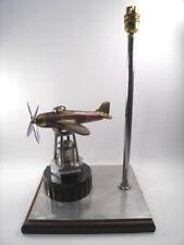 WW2 Trench Art table lamp spitfire aeroplane copper brass bakelite metal