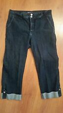 NYDJ Not Your Daughters Crop Jeans size 10 Cuffed Dark Wash Stretch Lift Tuck