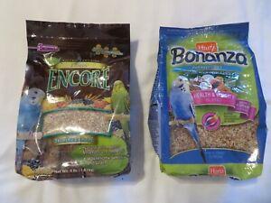 (1) Bag Each Hartz Bonanza Parakeet Diet & Brown's Classic Encore Food 4 lbs Ea
