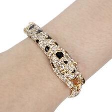 Leopard Animal Bracelet Bangle Cuff Clear Rhinestone Crystal Enamel Gold GP