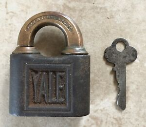 Vintage Yale & Towne Push Key Iron & Brass Padlock With Key
