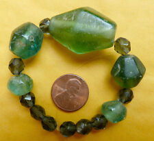 5 Ancient Green Translucent Indo-pacific Glass Beads Indonesia 250BC - 1200AD