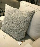 Pottery Barn Melodie Pillow Cover Ash Gray 22 sq Embroidered Floral