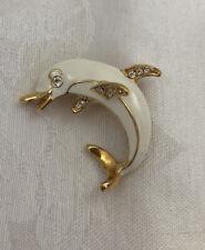 Vintage Dolphin Brooch Pin White Enamel Clear Rhinestones Gold Tone