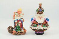 "Crinkle Claus Possible Dreams ""Tip Top Santa & Candlestick Santa"" Figurines"