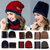 Beanie Winter Hat Scarf Warm Wool Knit Cap & Neckerchief Men Women Winter Warm