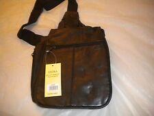 NEW Men Genuine Leather  BLACK  Shoulder Cross body Messenger  Sling Chest Bag