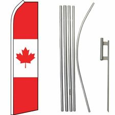 Canada Canadian Country Swooper Flag & 16ft Flagpole Kit/Ground Spike