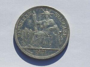 1 Piastre Indo-China Silver Coin 1921 (See Photos) #B518