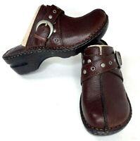 Born BOC Concept Womens 7 Clog Shoes HEEL KARLEY Brown Leather Western Slip On
