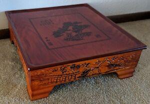 """Unique Carved Asian  Low Tea Table-17 3/4 x 17 3/4 x 6"""""""