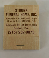 Struck Funeral Home Inc.Easton PA. Vintage Matchbook Unstruck Complete