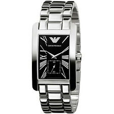 Emporio Armani Men's Watch AR0156 Stainless Steel/Black Dial Roman Numerals- New
