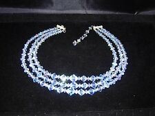 Vintage blue Aurora Borealis crystal necklace 3 strand graduated beads