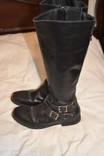 MATISSE Womens 8 Black Leather Riding Boots Side Buckles NICE!!!