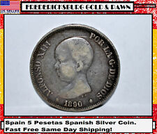 1890 Spain 5 Pesetas Spanish Silver Coin. Fast Free Same Day Shipping!