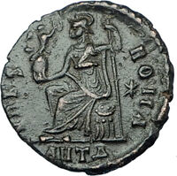 VALENTINIAN II 378AD Antioch Authentic Ancient Roman Coin VRBS ROMA i65870
