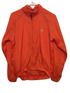 Canari Cycling Full Zip Windbreaker Jacket Men's Medium Orange Long Sleeve