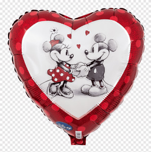 """DISNEY MICKEY MOUSE MINNIE MOUSE IN LOVE 18"""" FOIL HEART BALLOON!"""