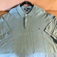 Polo Ralph Lauren Men's Short Sleeve Knit Shirt Heather Green 2-Button Top 2XB