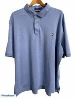 Polo Ralph Lauren Mens Sz 2XLT Blue Pima Soft Touch Short Sleeve Shirt