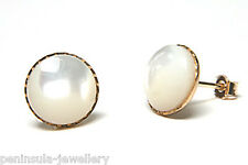 9ct Gold 8mm Mother of Pearl Studs earrings Made in UK Gift Boxed