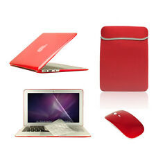 "5 in1 Crystal RED Case for Macbook Air 11""+Key Cover+LCD Screen+Sleeve Bag+Mouse"