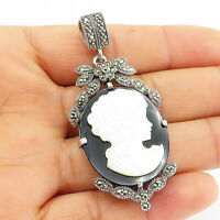 925 Sterling Silver - Vintage Mother Of Pearl & Black Onyx Cameo Pendant - P8155