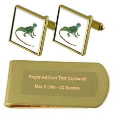 Reptile Lizard Gold-Tone Cufflinks Money Clip Engraved Gift Set