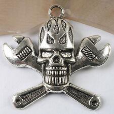 1pcs dark silver tone Wrench skull pendant h3560