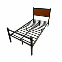 Foldable Metal Platform Bed Frame with Headboard & Footboard Twin Size