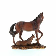 """Mother & Foal Horse Statue Figurine Brown Resin Mahogany Color 8"""" 17220"""