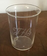 Large Antique Crystal Drinking Glass Vase Etched with Monogram JHB Beaker