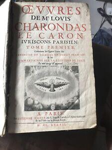 Oeuvres De Mr Louis Charondas Le Caron 1637 Droit Code Civil Coutume In Folio