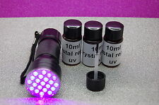 30ml Crystal Repair UV Resin, Glue for Glass, Metal, Furniture, 21 led uv torch