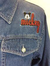 #S19 Disney Sz L Mickey Unlimited Embroidered Blue Jean Denim Zip Jacket Pockets