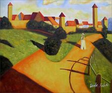 Wassily Kandinsky Old Town II Repro, 100%  Hand Painted Oil Painting 20x24in