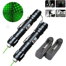 2Pc Powerful 5mw 532nm Military Green Laser Pointer Pen Star Cap+Battery+Charger