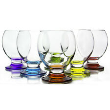 Orion Rainbow Multi Colored Glass Footed Wine/Water Goblets, 8.25 Oz, Set of 6