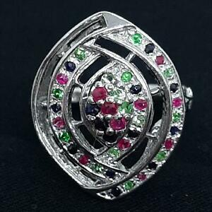 World Class .35ctw Emerald, Ruby & Sapphire 925 Sterling Silver Ring Size 6