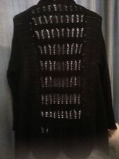 Autograph Black cardigan jumper crochet waterfall open drape XL 24 26 NEW