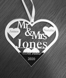 Just married wedding gift Love Heart Mrs and Mr Jones gift keepsake Personalised