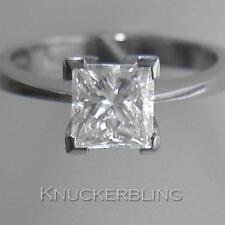 Diamond Solitaire Ring 1.50ct Certified Princess Cut G SI2 EXC 18ct White Gold