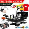 "5 in 1 Heat Press Machine Digital Transfer Sublimation T-Shirt Mug Hat 15""x15"""