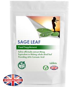Sage Leaf Tablets 800mg Extract (30/60/90/120/180 Pack) Menopause Support UK (V)