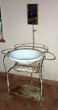 Ancien meuble de toilette barbière tôle émaillé bassin et système de vidage 1920