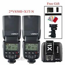 2*Godox V850II 2.4G GN60 Wireless Li-ion Camera Flash+X1T-N trigger fr Nikon/Gif