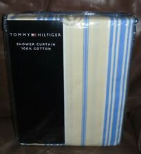 Tommy Hilfiger Printed Multicolor Striped Cotton Fabric Shower Curtain 72x72 New