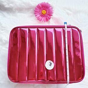 NEW Lancome Holiday Metallic Pink Softside Cosmetic Makeup Bag TRAIN CASE