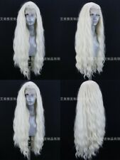 """24"""" White Blonde Glueless lace front wigs Long Curly Wavy Handtied"""